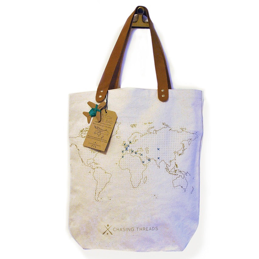 Customisable stitch canvas tote bag with genuine leather handles in cream