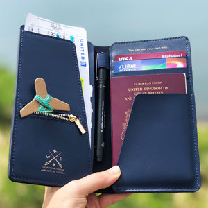 Navy stitch travel wallet