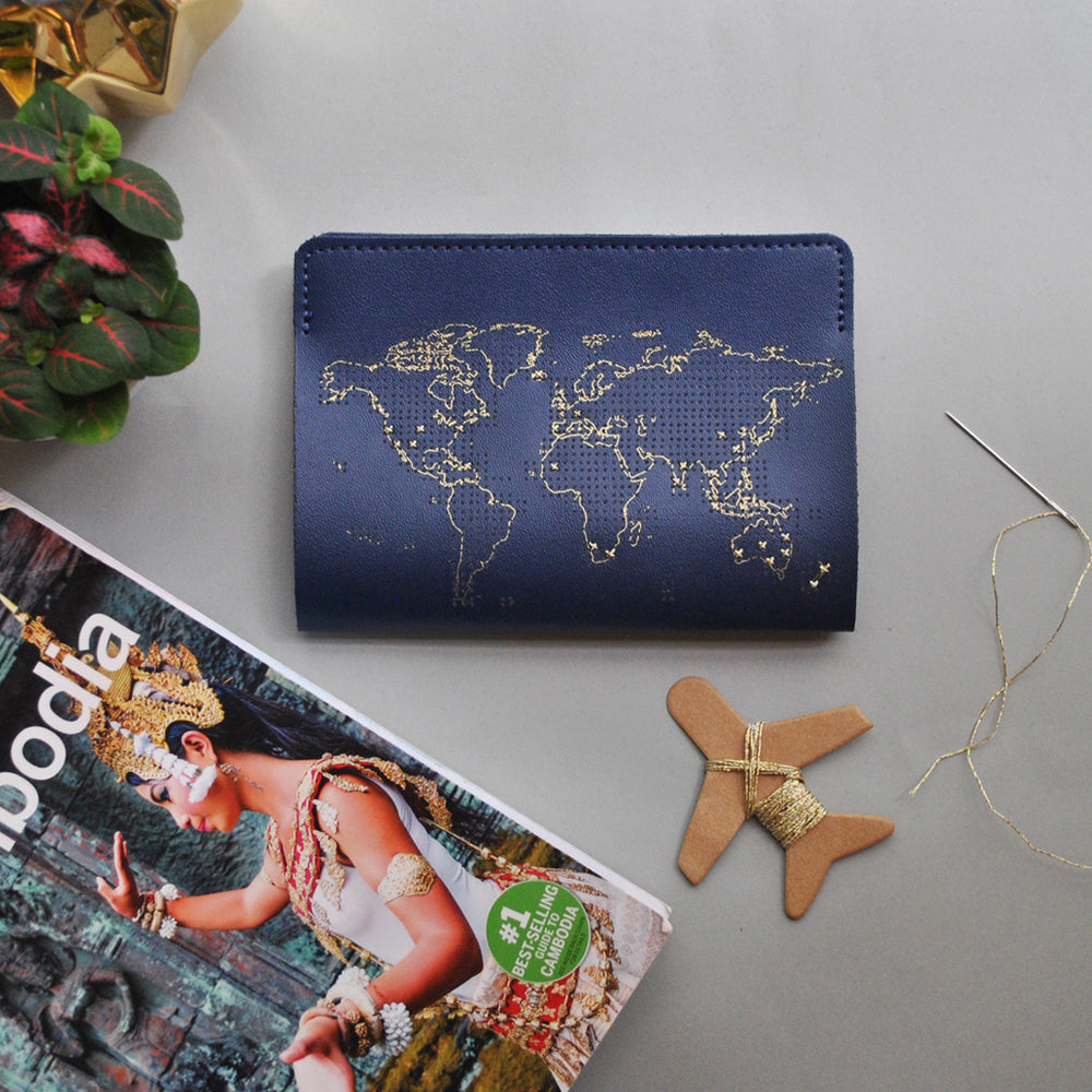 Load image into Gallery viewer, Stitch passport cover in navy Travel Maid In China - Brand Academy Store