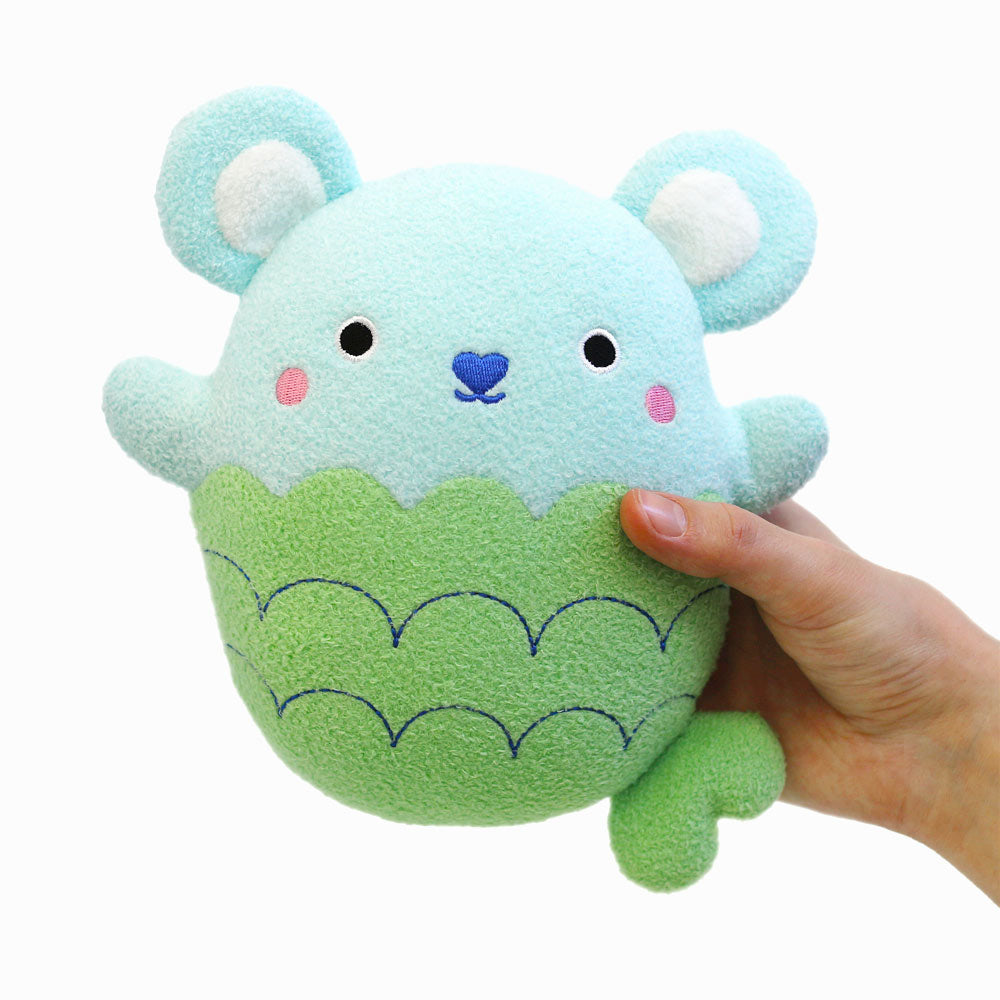 Fish plush toy for children 'Ricesplash' in blue and green