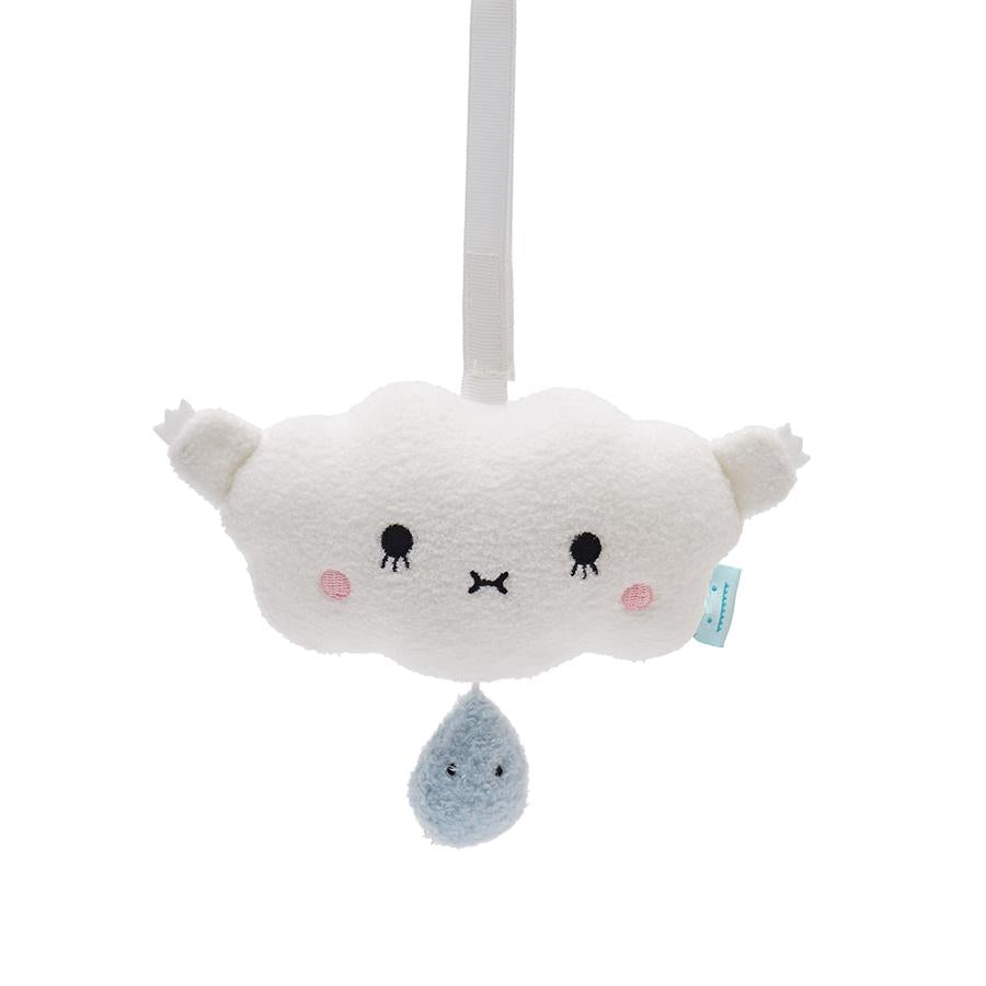 Music mobile plush soft toy for children with cloud 'Ricehush' in white