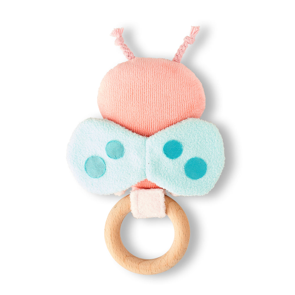 Rattle for children with butterfly 'Ricebutter' in pink