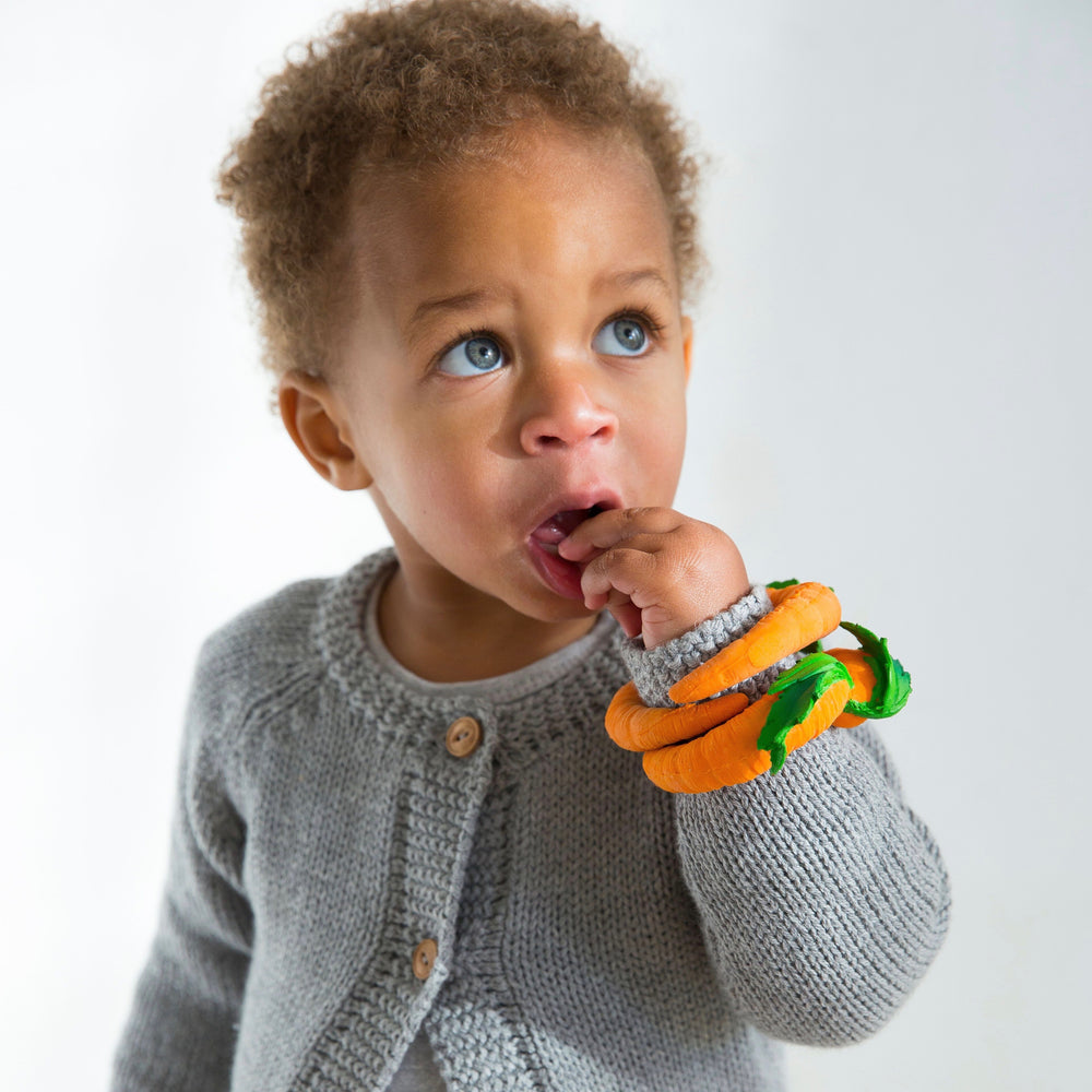 Baby teether toy bracelet Carrot in orange made from natural rubber