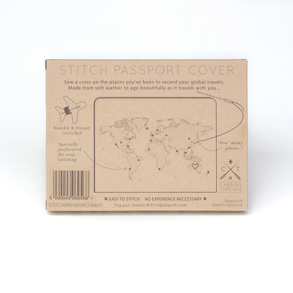 Stitch passport cover in navy