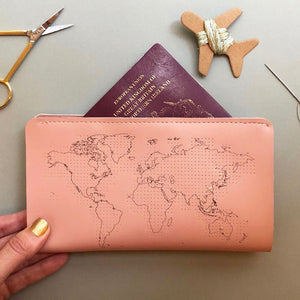 Customisable stitch travel wallet real leather in pink