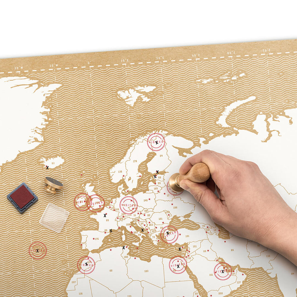 Stamp travel poster map LUCKIES Luckies - Brand Academy Store