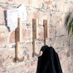 3 Coat wall and magnetic hooks 'J-Pegs' in natural wood