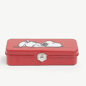 Snoopy Pencil Tin Allergic To Mornings in Red and White