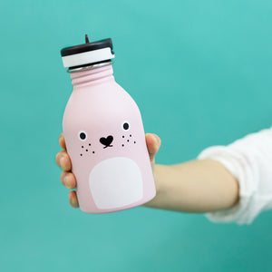 Small water bottle 9oz stainless steel in pink