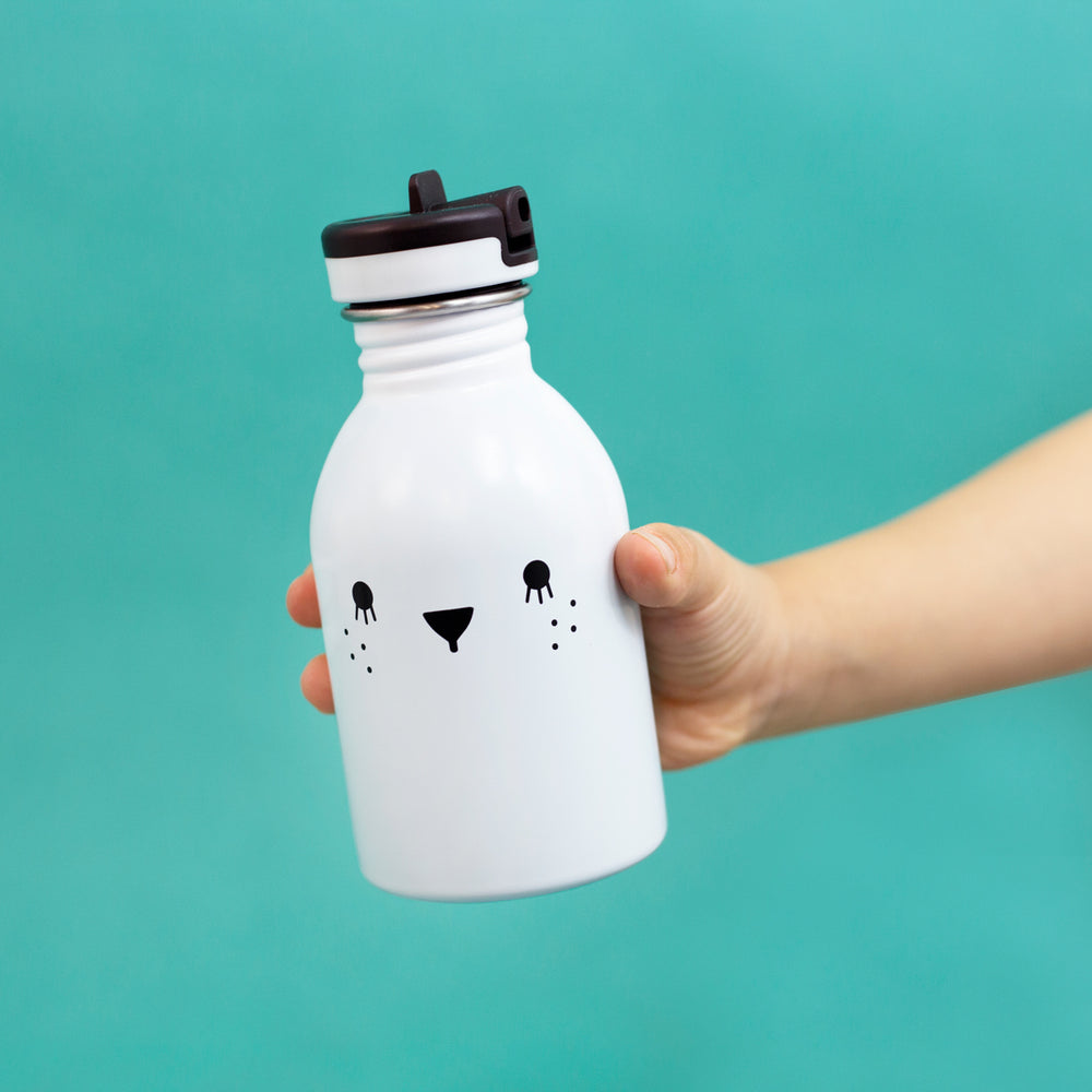 Small water bottle 9oz stainless steel in white