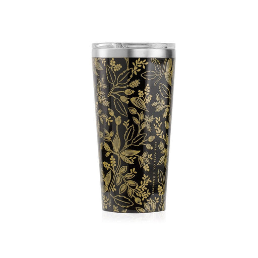 Corkcicle 16oz thermal tumbler for hot and cold drinks in Queen Anne black and gold floral print