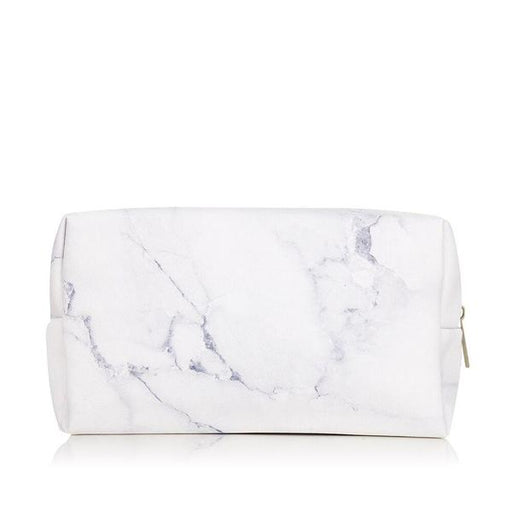 Make up bag in marble print faux leather