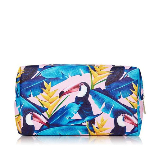 Make up bag in blue toucan design faux leather