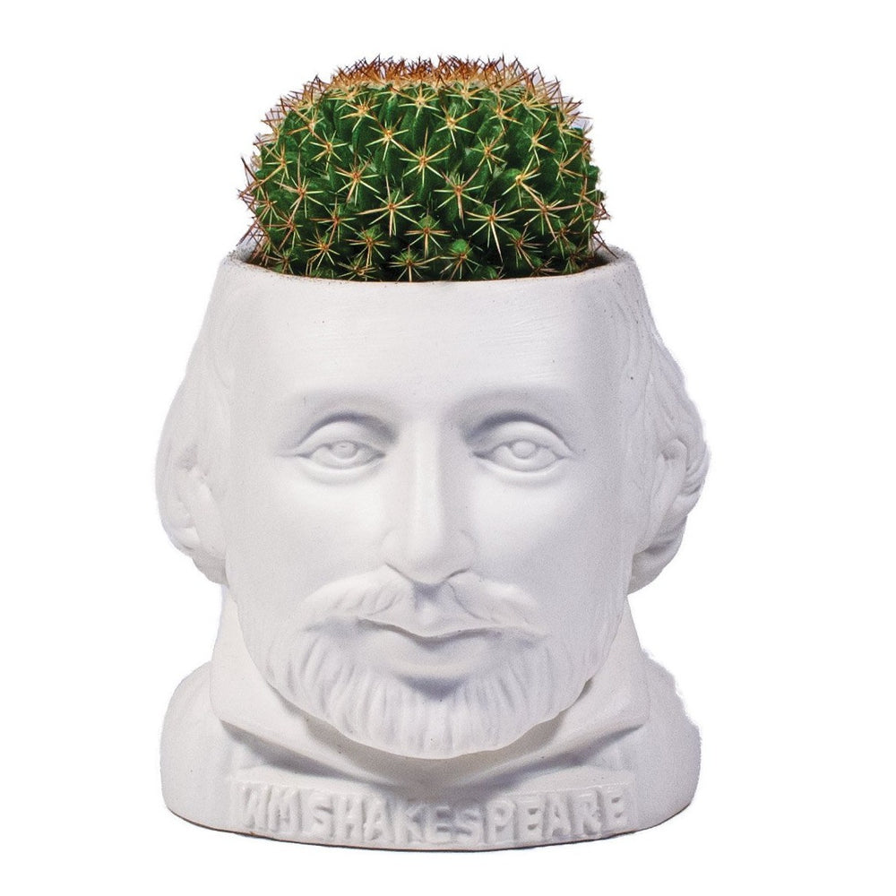 Plant Pot William Shakespeare Ceramic Mini Planter White