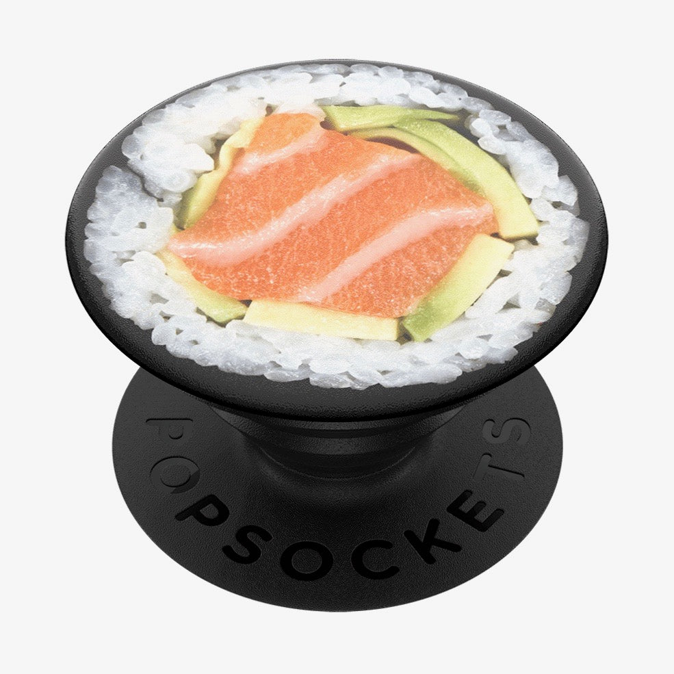 Mobile accessory expanding hand-grip and stand Popsocket in sushi salmon roll