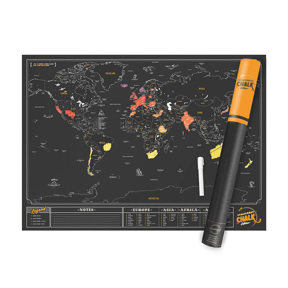 Chalk travel scratch map LUCKIES Luckies - Brand Academy Store