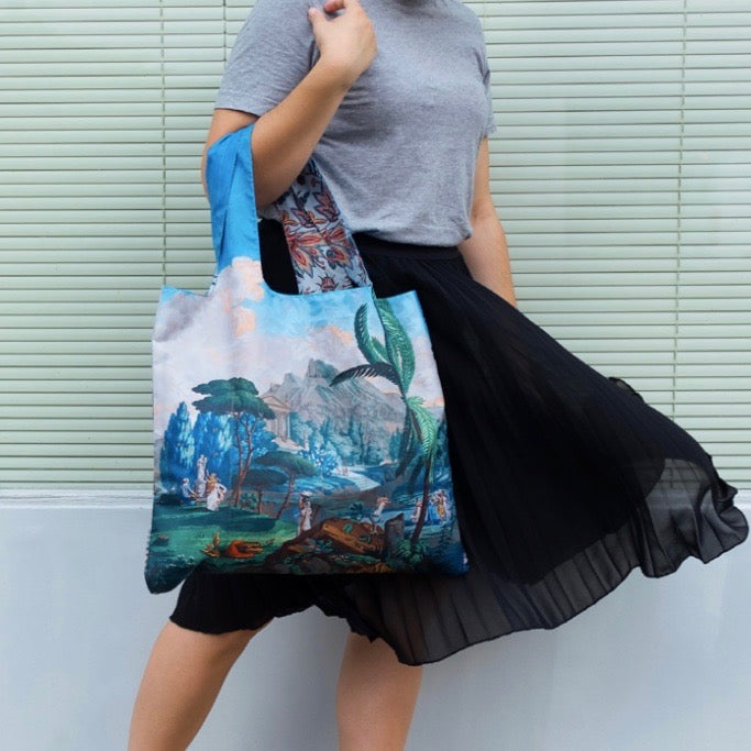 Foldable Tote bag with 'Telemaque in Calypso Island' Landscape artwork by Joseph Dufour in blue