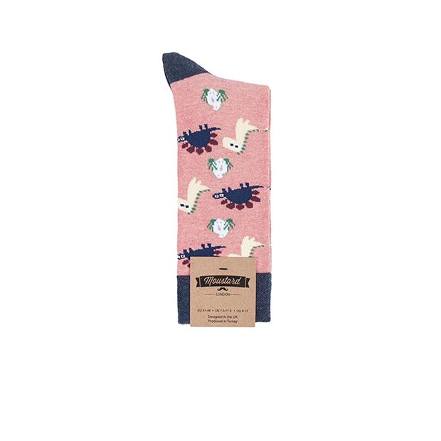 Socks Womens Chill Dinosaur Pink Navy
