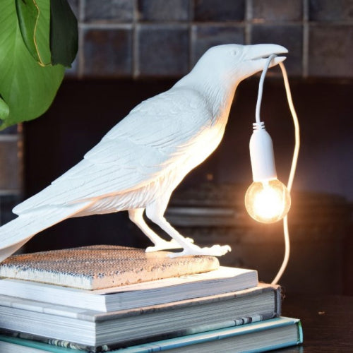 Seletti bird waiting table lamp light in white