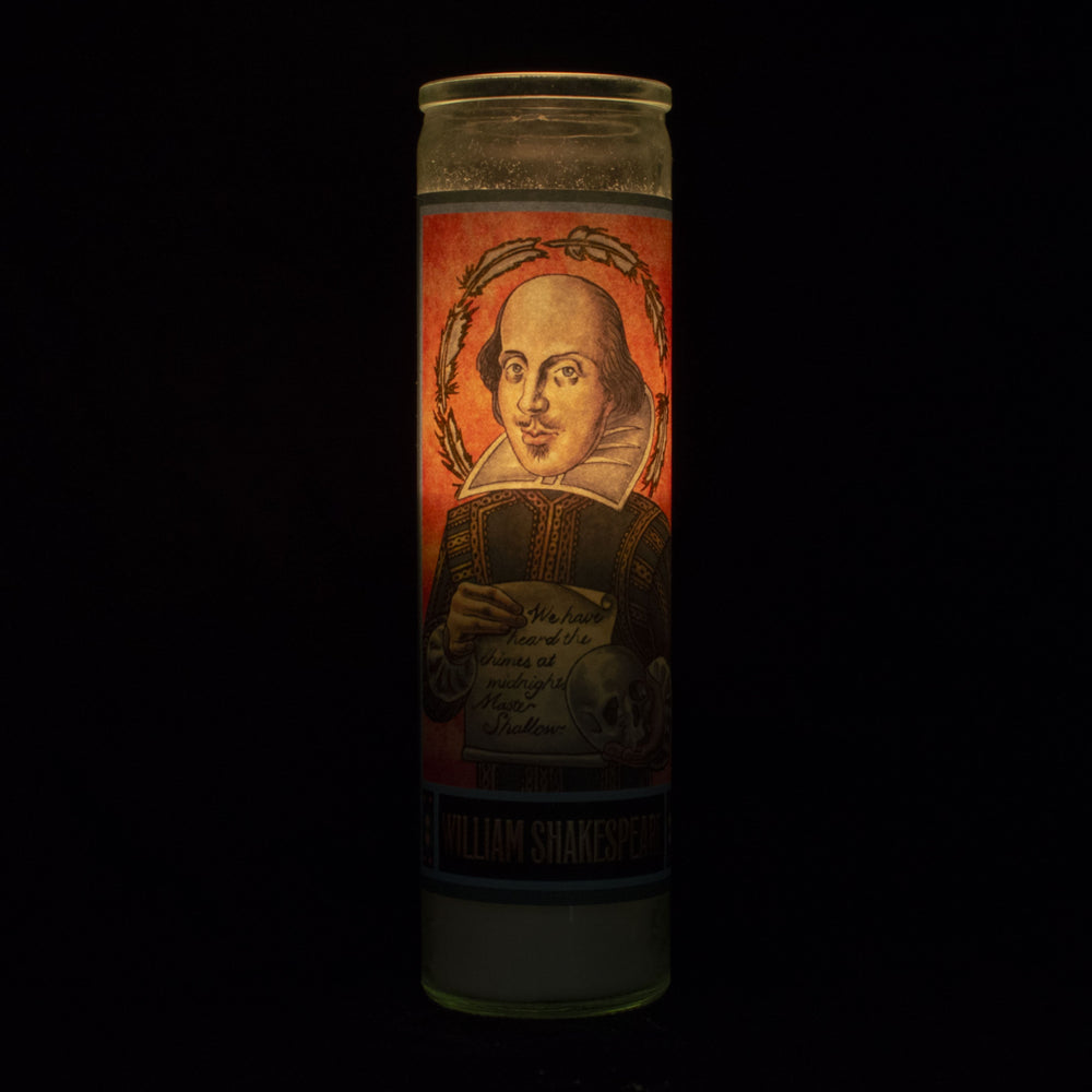 Tall votive candle with secular Saint 'William Shakespeare'