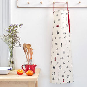 Load image into Gallery viewer, Kitchen apron with London Icons souvenir gift in white