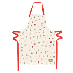 Kitchen apron with London Icons souvenir gift in white