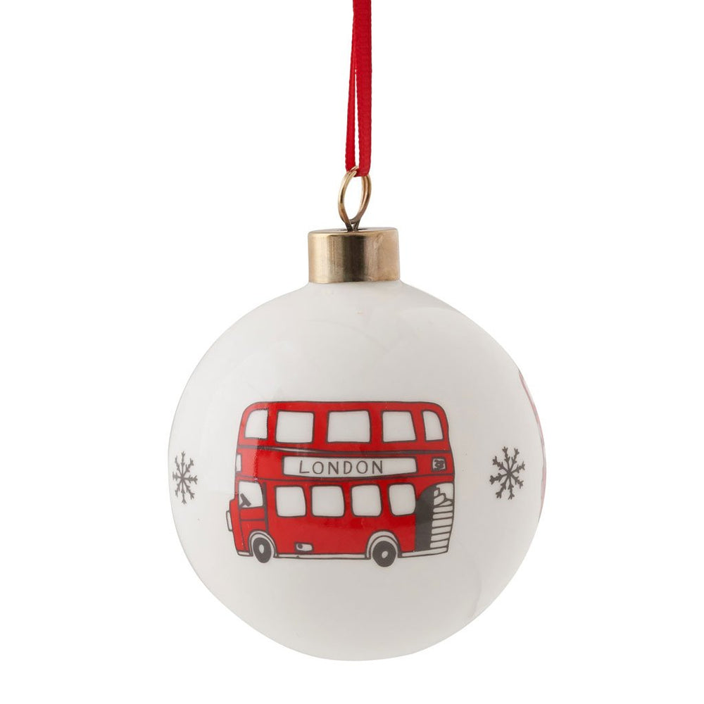 Bauble with London Bus souvenir gift in white