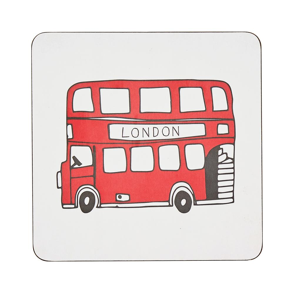 Pot stand with London Bus souvenir gift in white