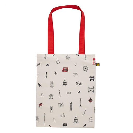 Canvas bag with London Icons souvenir gift in cream