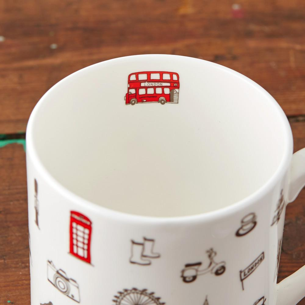 Mug with London Icons souvenir gift in white