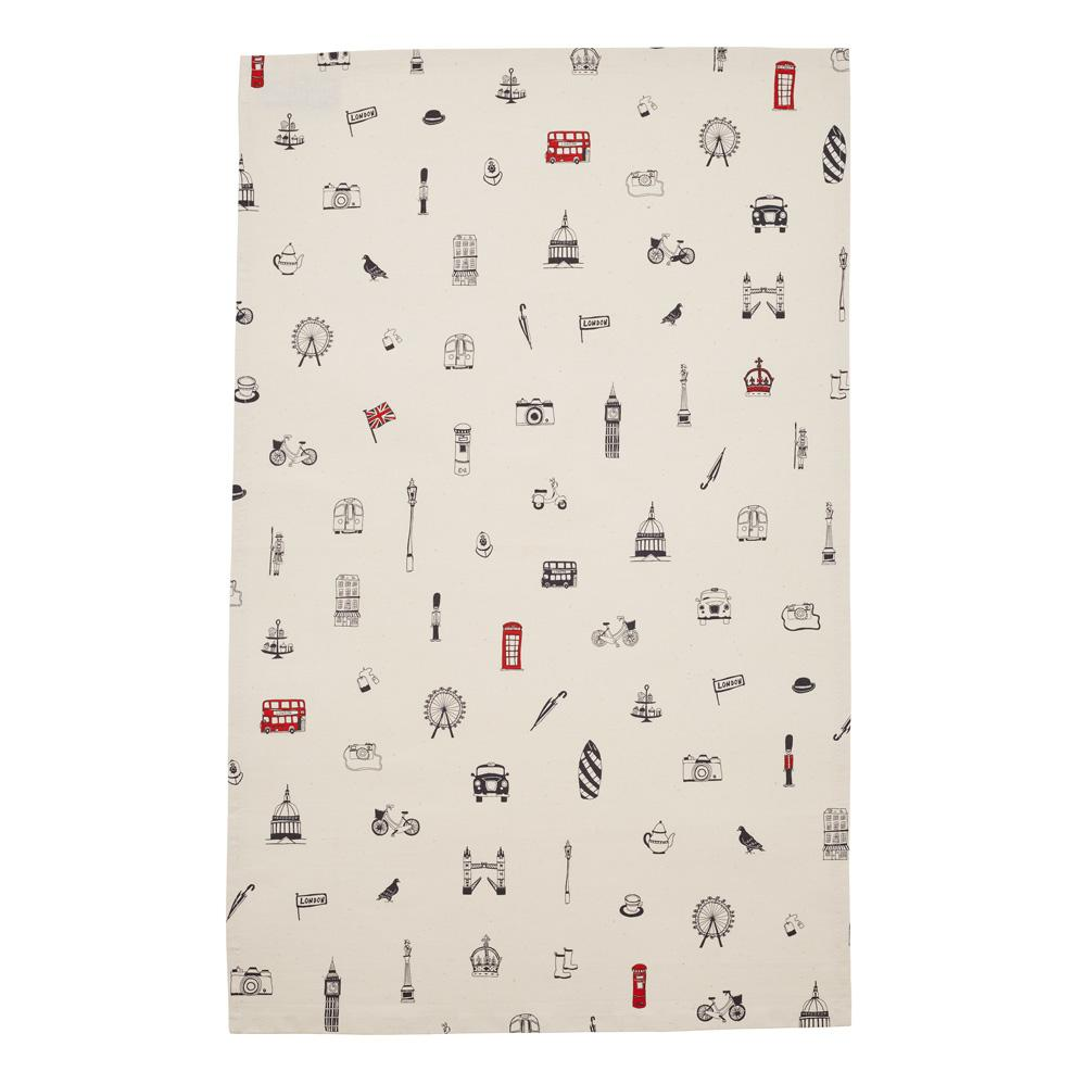 Tea Towel with London Icons souvenir gift in cream