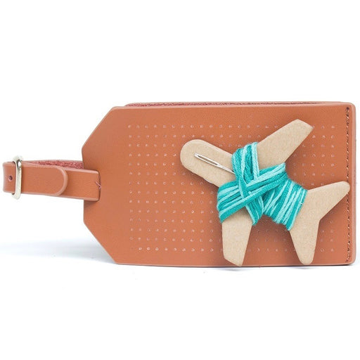 Customisable stitch travel luggage tag real leather in brown