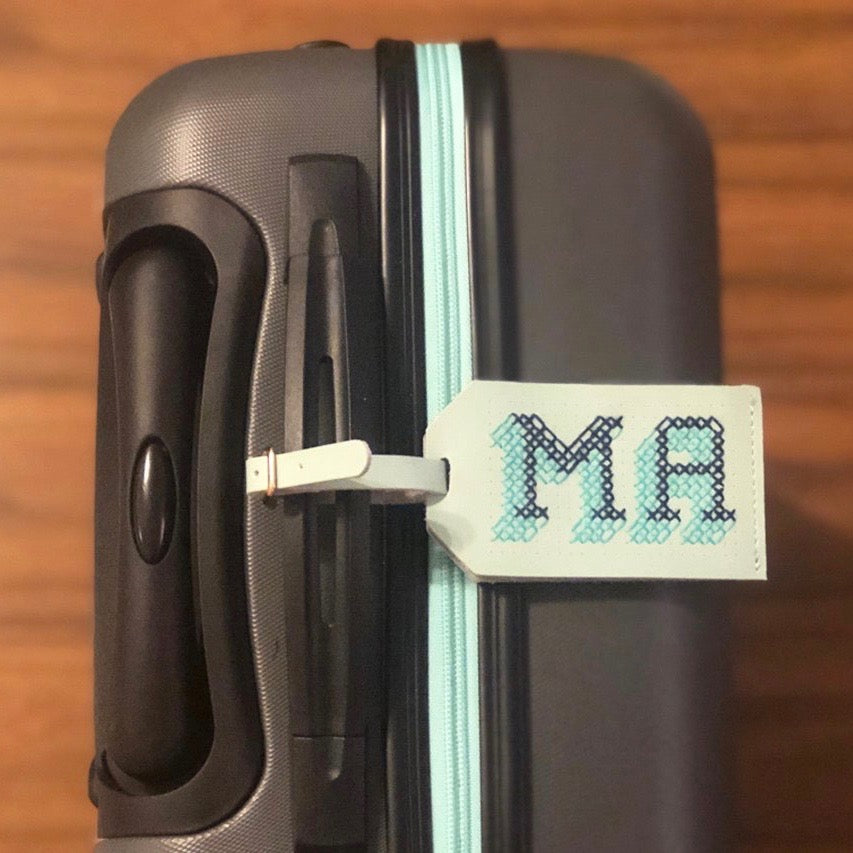 Customisable stitch travel luggage tag real leather in mint