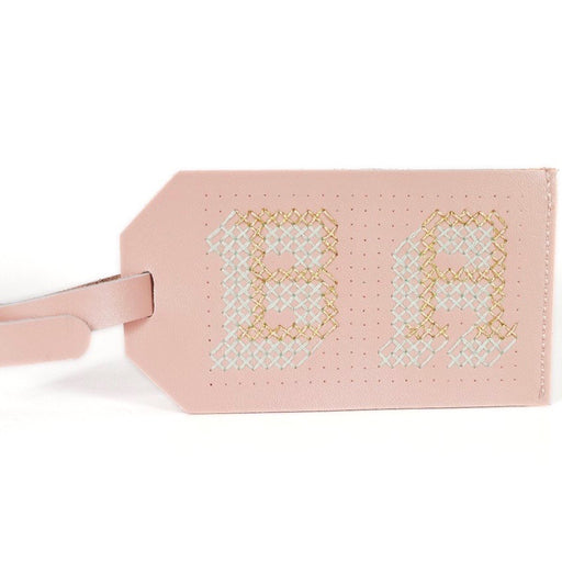 Customisable stitch travel luggage tag real leather in pink