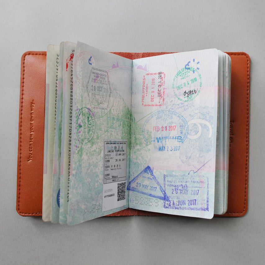 Stitch passport cover in brown Travel Maid In China - Brand Academy Store