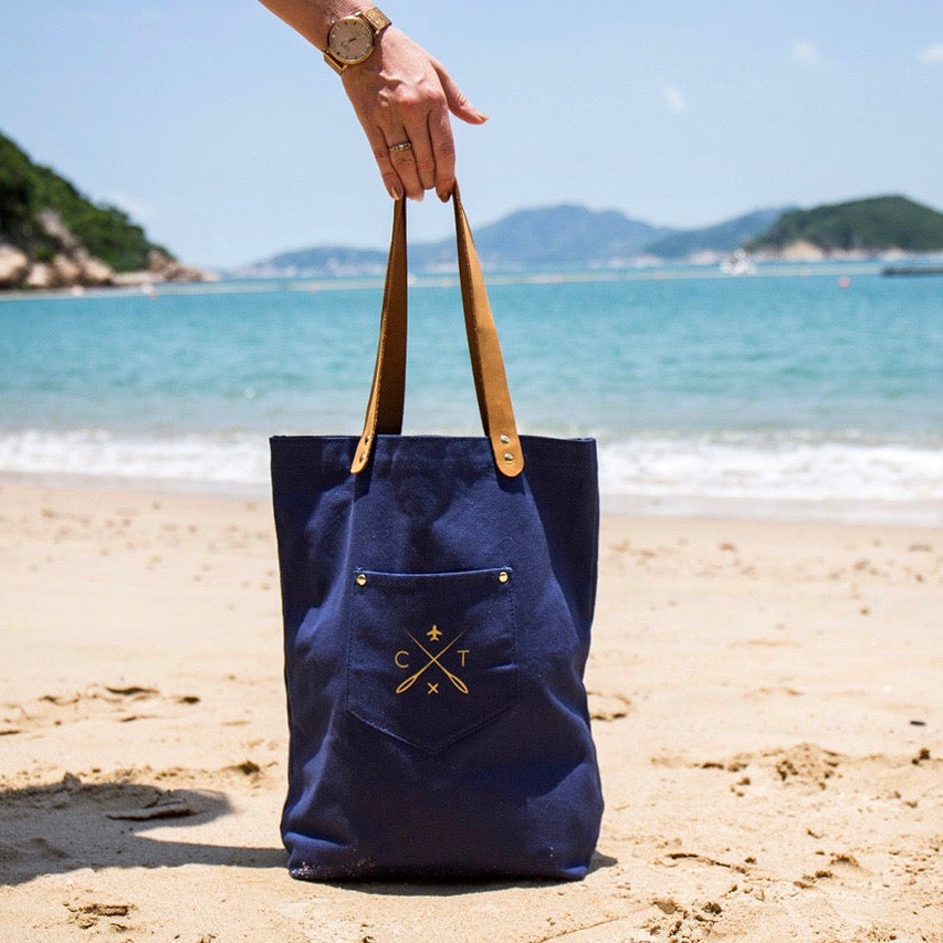 Customisable stitch canvas tote bag with genuine leather handles in navy