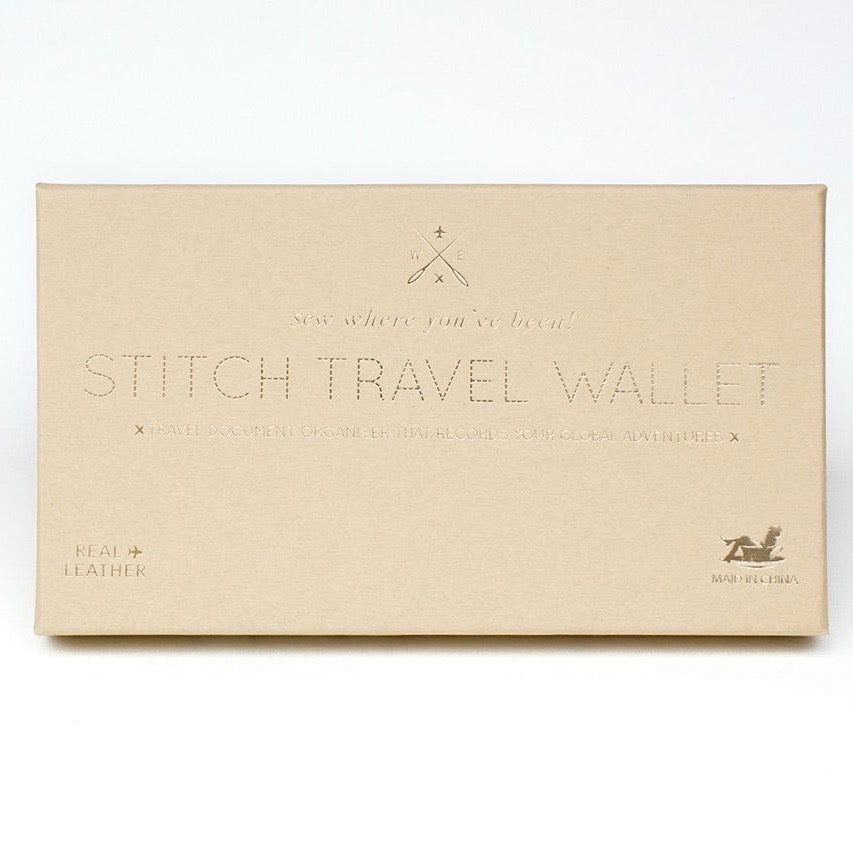 Customisable stitch travel wallet real leather in brown