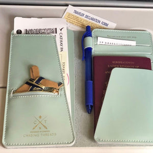 Customisable stitch travel wallet real leather in mint green