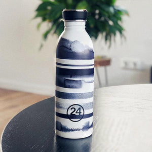 Load image into Gallery viewer, Water Bottle Lightweight 500ml Black and White Stripes