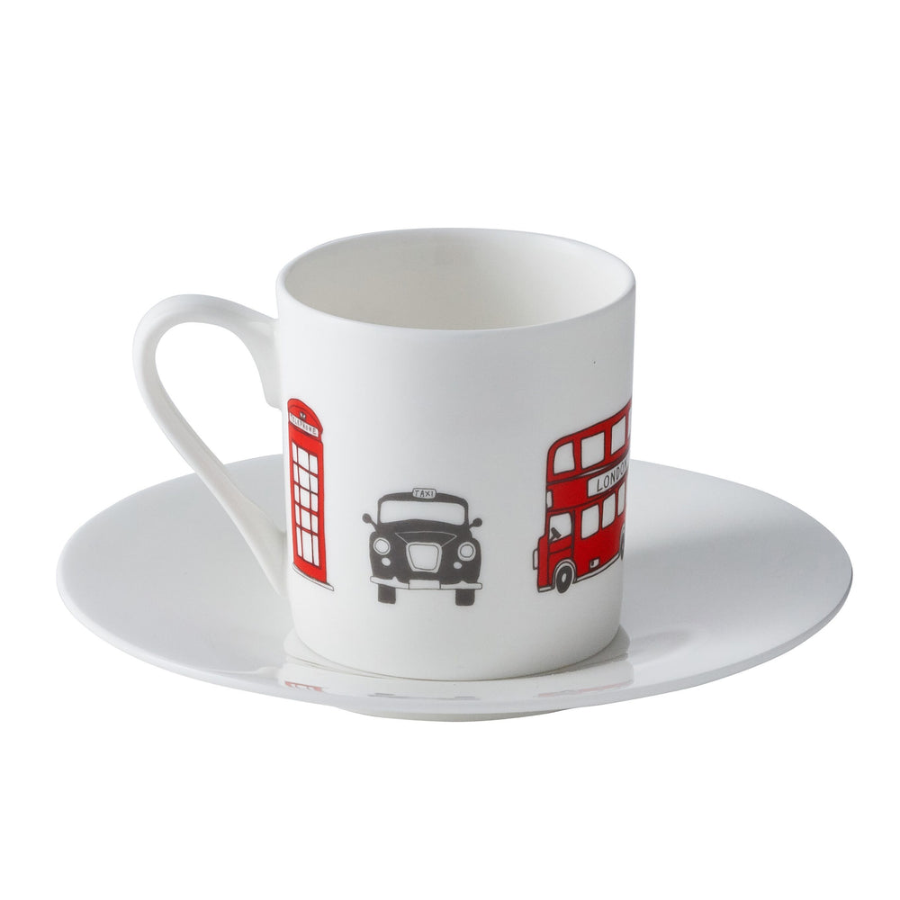 Espresso set of 2 with London Skyline souvenir gift in white