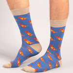 Socks Unisex T-Rex Dinosaur Blue Orange
