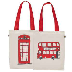 Canvas bag with Telephone box and Red Bus souvenir gift in cream