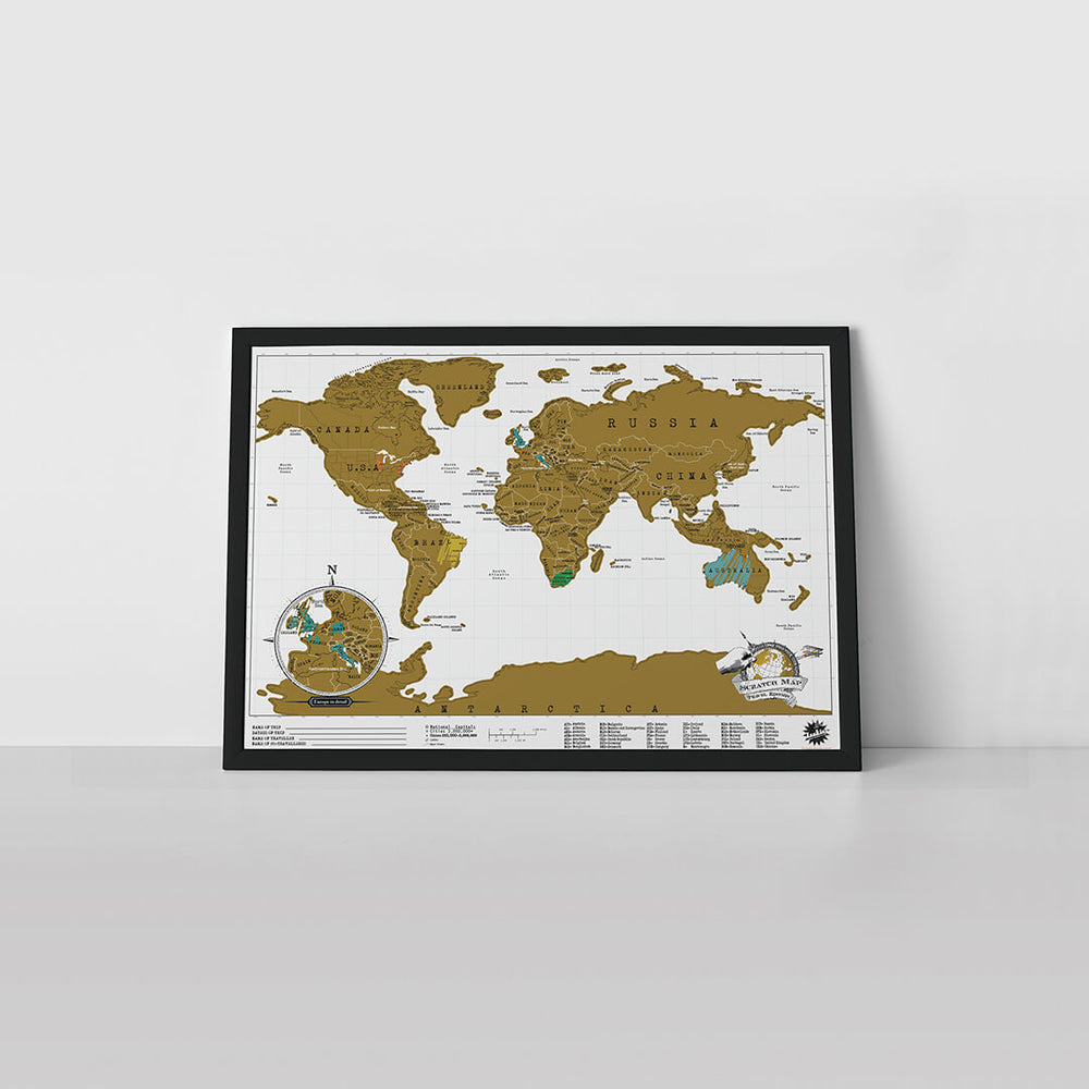 Scratch Map travel edition in white