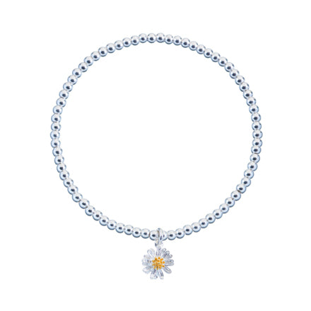 Bracelet with a wildflower charm in silver