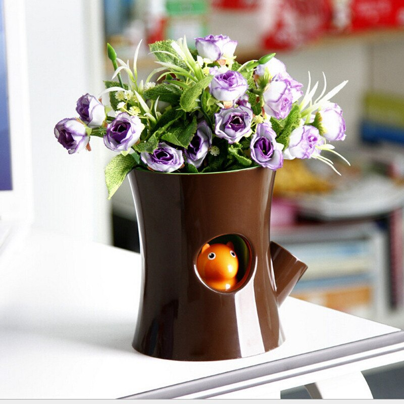 Self Watering Plant Pot Log and Squirrel in Brown