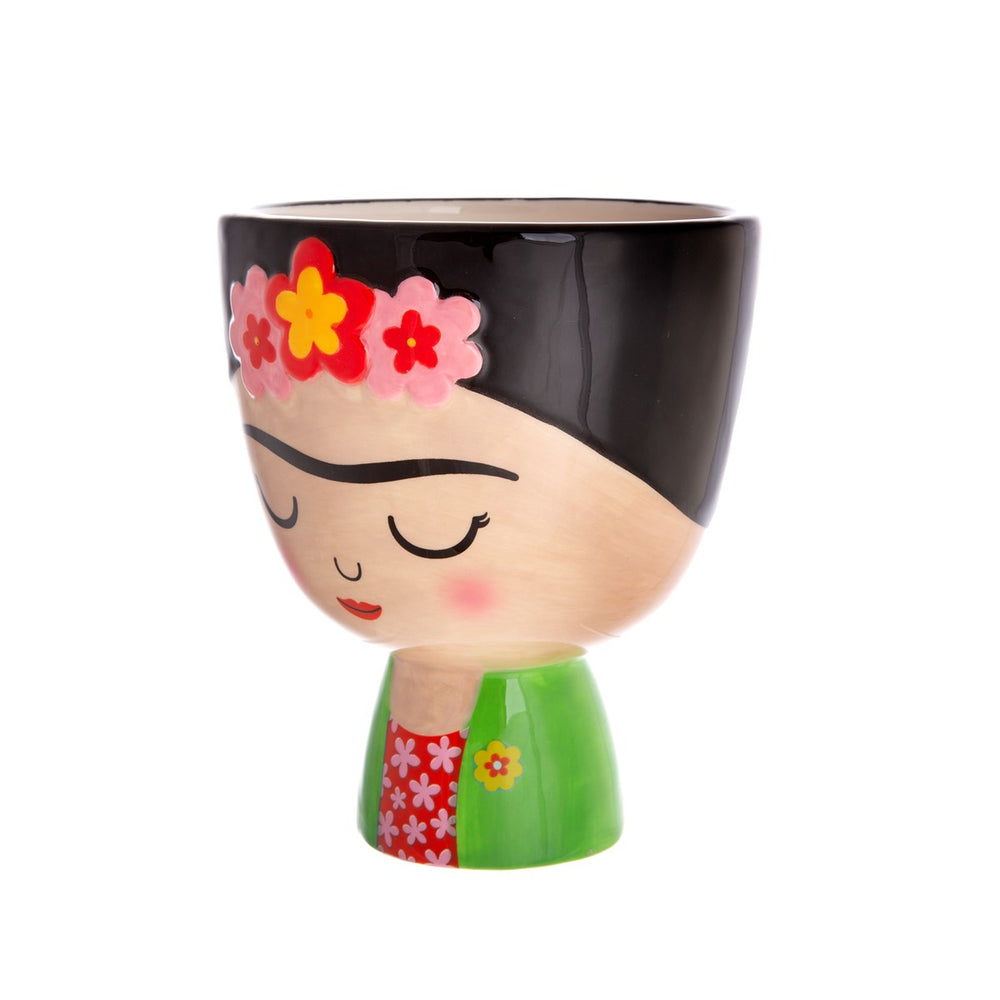 Planter plant pot in the shape of Frida Kahlo