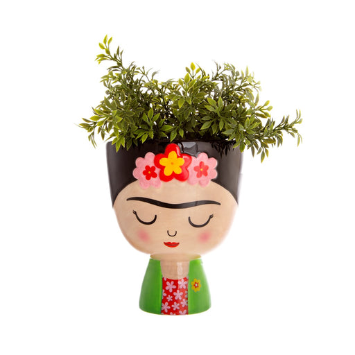 Planter plant pot in the shape of Farida Kahlo