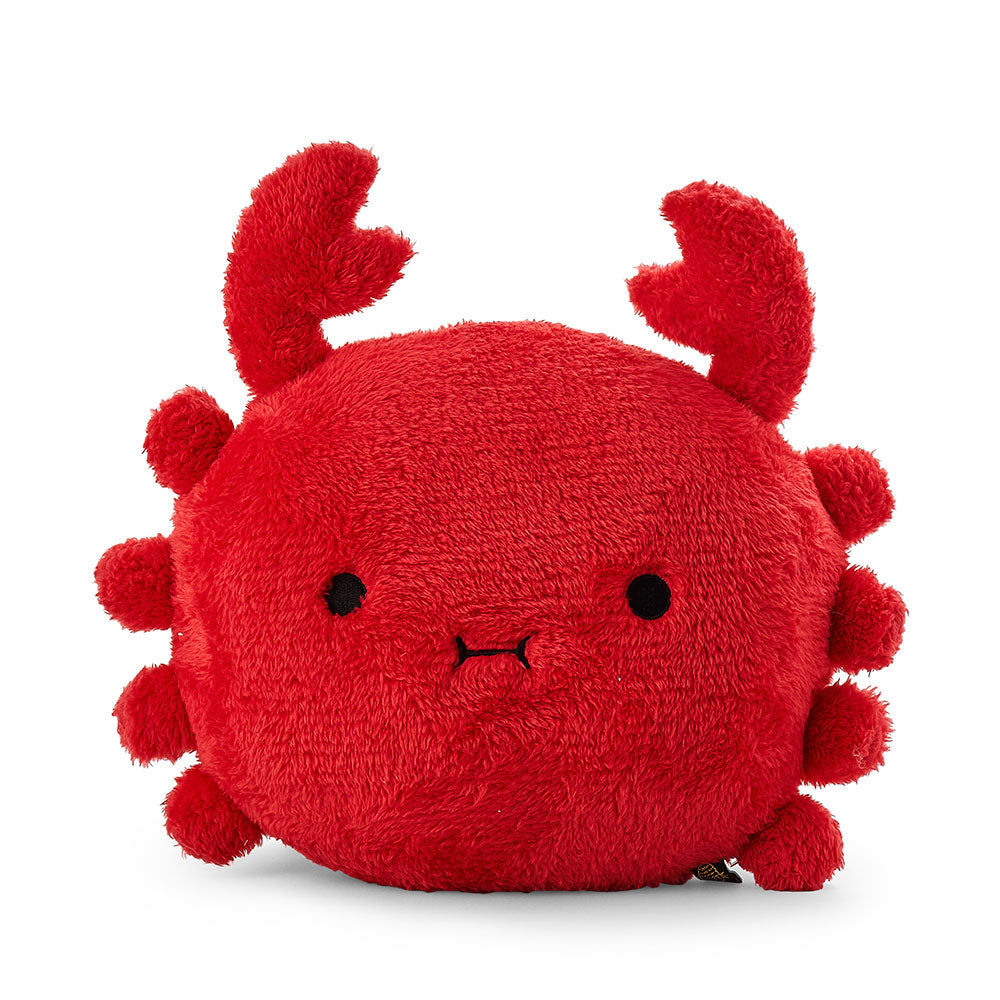 Crab cushion plush soft toy with 'Ricesurimi' in red