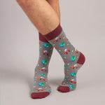 Socks Unisex Alien Spaceships Grey Maroon