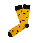 Socks Unisex Orca Whale Mustard Yellow Black